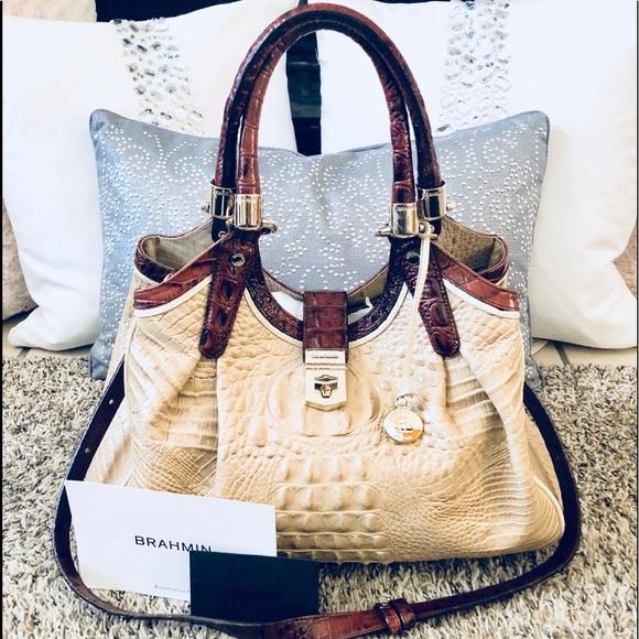 ce35a0fecaf7 Brahmin Handbags - Brahmin Elisa Pecan Trim Croc Embossed Leather Bag